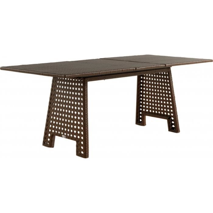 Table extensible r sine tress e blanche pieds cann s for Table extensible resine
