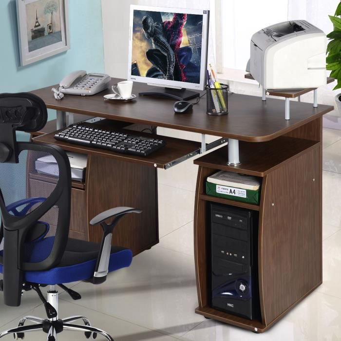 table de bureau pour ordinateur pc avec tablette imprimante tablette clavier 2 tiroirs et. Black Bedroom Furniture Sets. Home Design Ideas