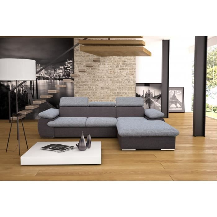 canap d 39 angle convertible caprice gris achat vente canap sofa divan cdiscount. Black Bedroom Furniture Sets. Home Design Ideas