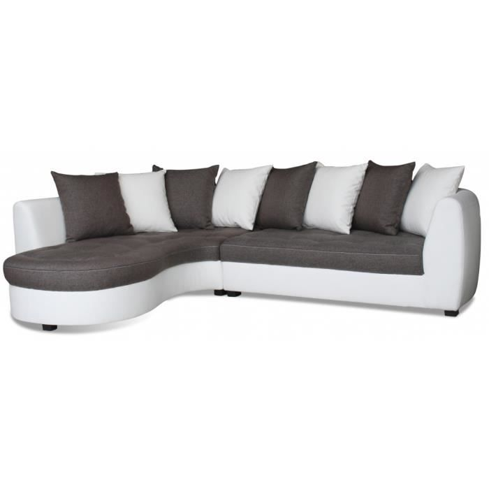 canap tissu d 39 angle avec coussins bicolors 5 p achat vente canap sofa divan cdiscount. Black Bedroom Furniture Sets. Home Design Ideas