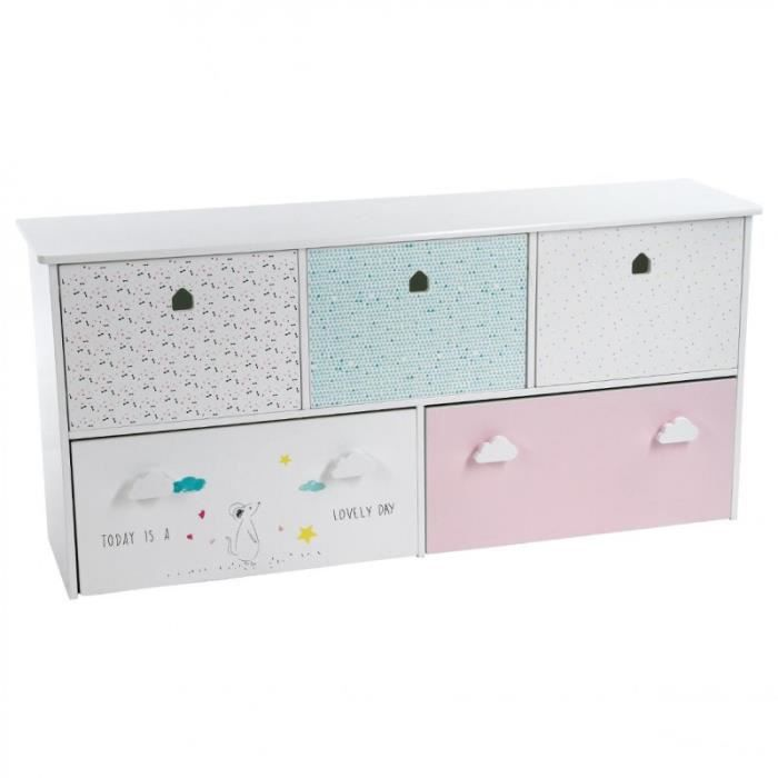paris prix meuble de rangement enfant 5 tiroirs sweety 114cm multicolore achat vente. Black Bedroom Furniture Sets. Home Design Ideas