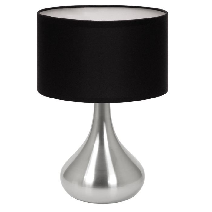 lampe de table touch hannah noir tissu et acier achat. Black Bedroom Furniture Sets. Home Design Ideas
