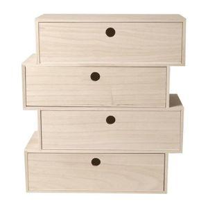 Support à décorer Bloc 4 tiroirs en bois 'Artemio' 34 x 15 x 38 cm