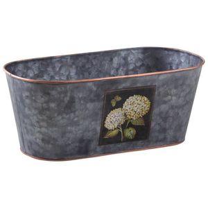 CAISSE BOIS Corbeille ovale en métal patiné gris Hortensia Mul