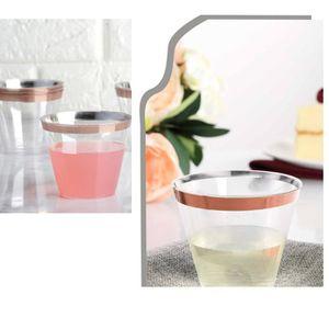 VERRE JETABLE Gobelets en plastique à bordures en or rose Verres