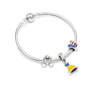 BRACELET - GOURMETTE Bracelet Jonc Style Pandora Charm Disney Argent 92
