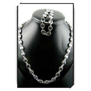 SAUTOIR ET COLLIER Collier acier + bracelet acier grain de cafe