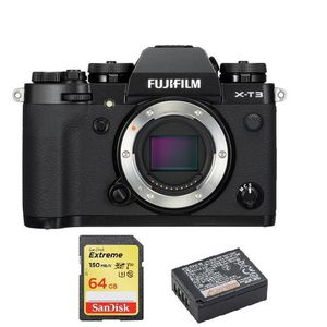 APPAREIL PHOTO RÉFLEX FUJI X-T3 Body Black + 64GB SD card + NP-W126S Bat