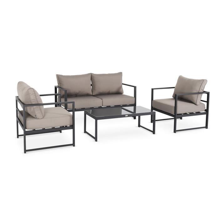 Salon de jardin 4 places Balea en aluminium, structure anthracite et coussins taupe, design et modulable, coussins épais