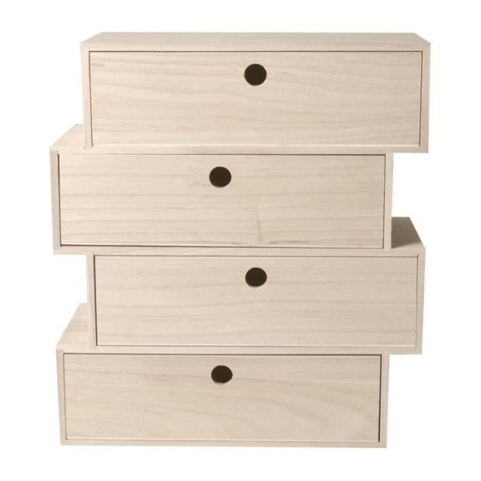 Bloc 4 tiroirs en bois 'Artemio' 34 x 15 x 38 cm