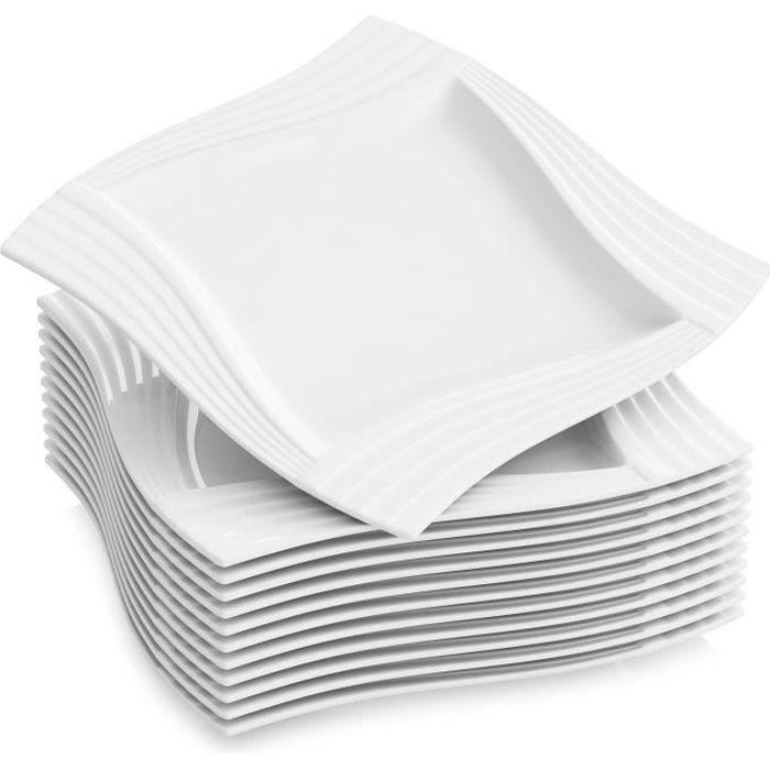 12pcs Assiettes Plates 25.5cm Vaisselles Assiette Carrée Porcelaine Plat Service de Table Malacasa Série AMPARO