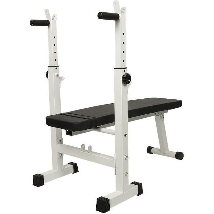 Banc de Musculation avec Support de Barres Pliant, Banc de Musculation à Usages Multiples Gymnase à Domicile Noir-Blanc