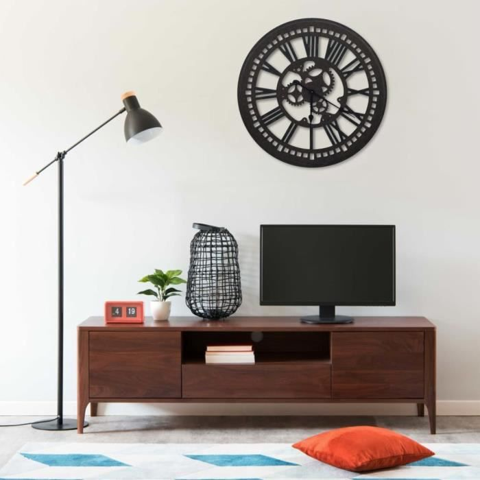 Horloge murale Noir 80 cm MDF -WAN