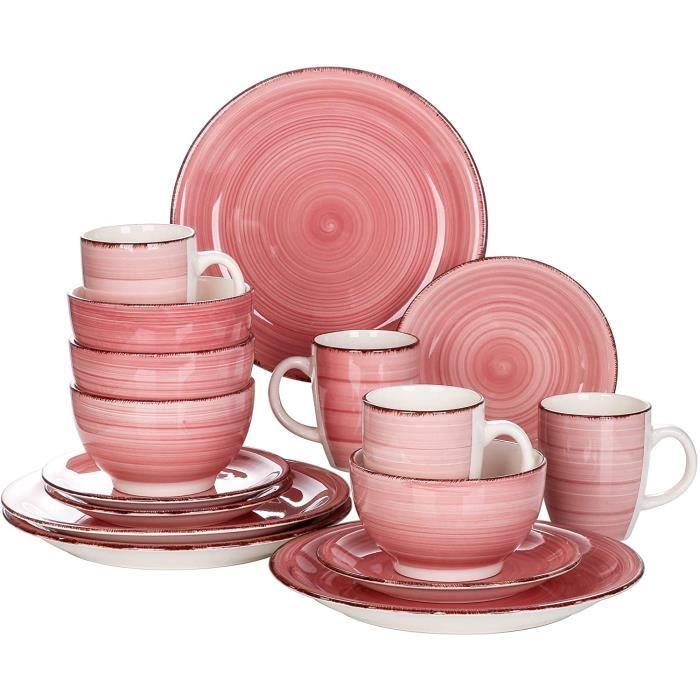vancasso, Série Bella, Service de Table en Céramique, Assiettes 16 Pièces 4 Personnes, Faïence Style Vintage Rustique, Motif Cercle