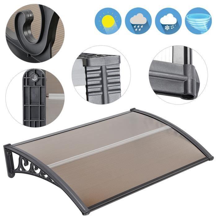HEk Auvent de porte entrée marquise d'accueil résistance à haute température et imperméable - 100*150 cm - marron