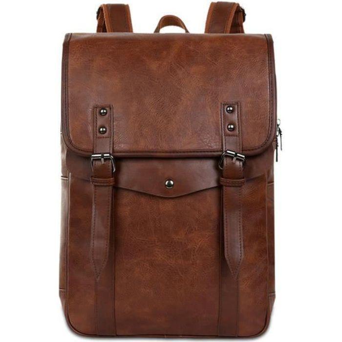 Sac à dos en cuir Vintage Vintage Sac à dos pour ordinateur portable Sac à dos scolaire pour homme, marron