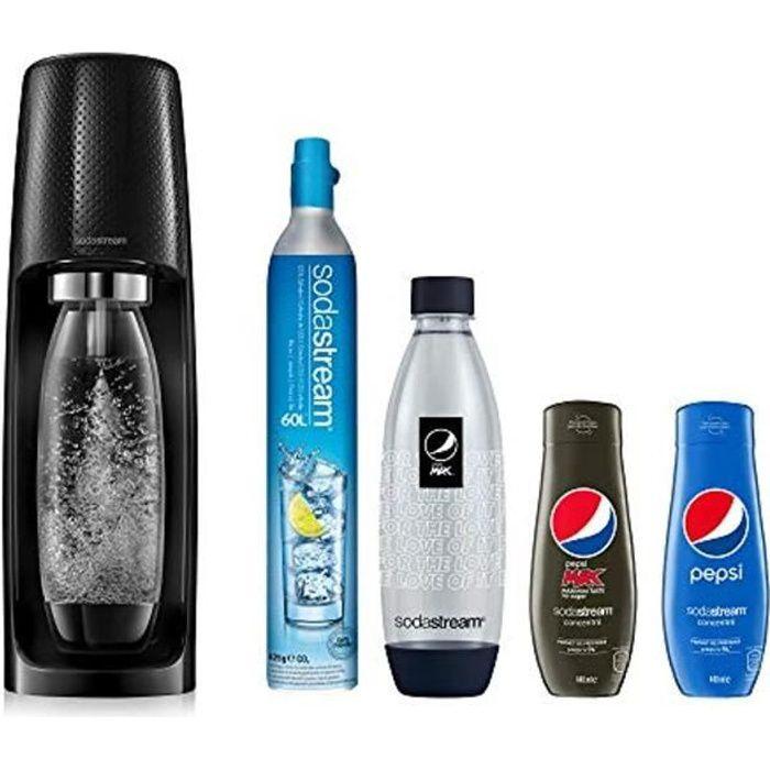 Sodastream Pack Spécial Machine Spirit Noire Plastique, Une Bouteille 1L, Une Bouteille FUSE
