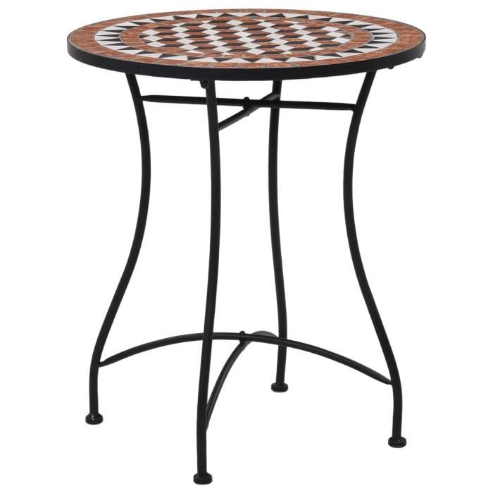 Table de bistro Table de jardin - Table de bar mosaïque Marron 60 cm Céramique Super *185820