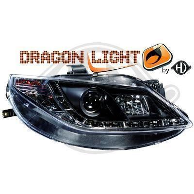 7426385 , Paire de Feux Phares Daylight LED noir pour SEAT Ibiza Berline , Coupe sport 6J de 2008 a 2012