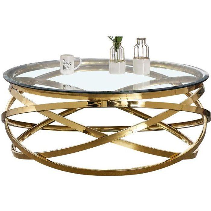 Table basse design rond avec piètement en acier inoxydable poli doré et plateau en verre trempé transparent L. 100 x H. 43 cm