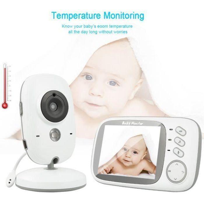 LUXS Bébé Moniteur 3.2- LCD Babyphone Vidéo Ecoute Camera Surveillance 2.4 GHz Bidirectionnelle Vidéo Vision Nocturne