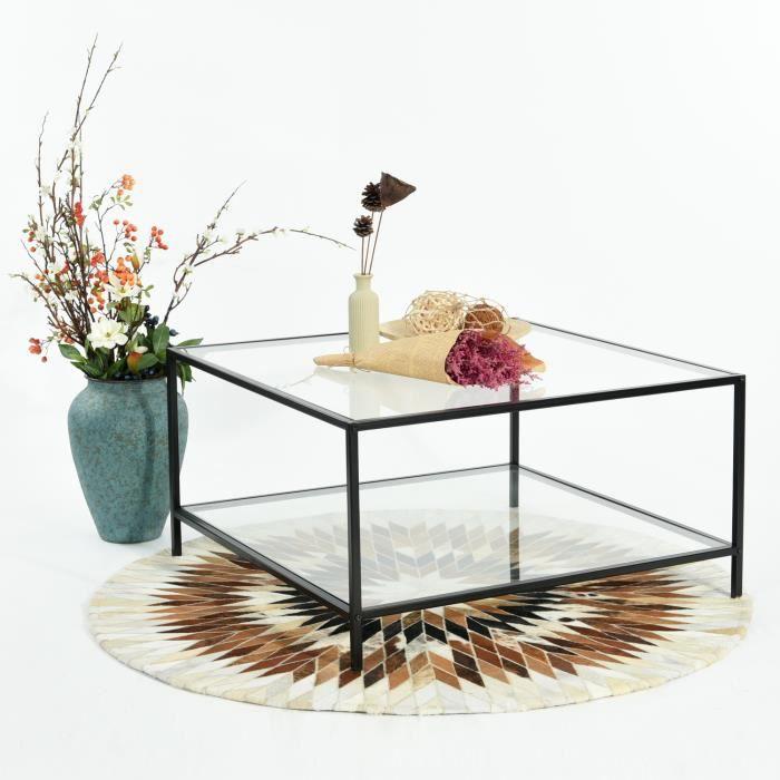 Table basse carrée verre trempé transparent métal