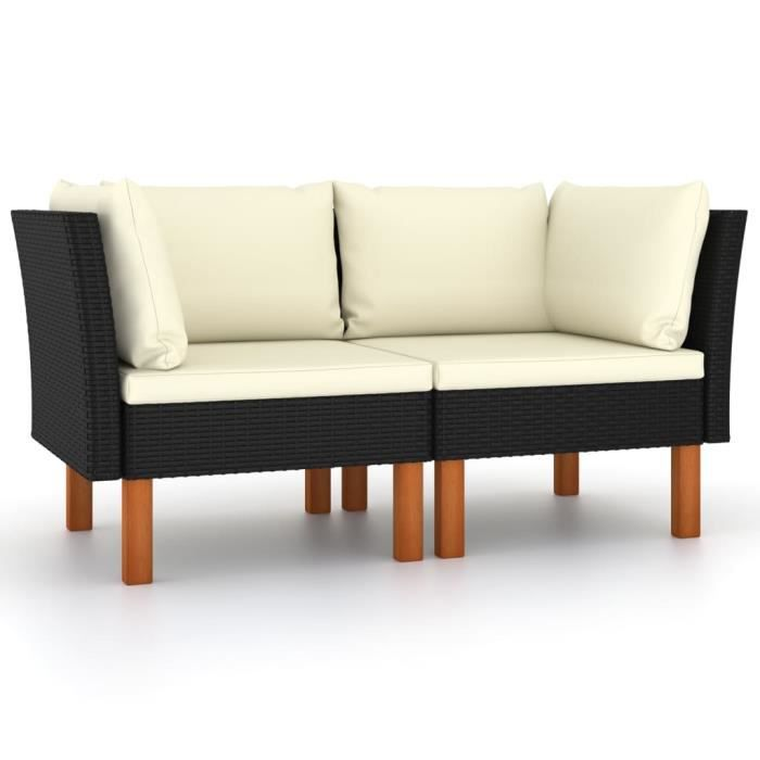 *5739Lot de 2 Canapés d'angle de jardin Canapé d'Extérieur Sofa Canapé de relaxation Salon de jardin Résine tressée et bois d'eucaly