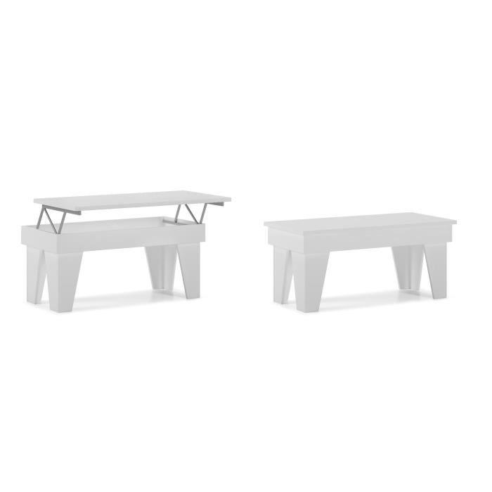 Table basse relevable, salle à manger, modèle KL, blanc mat, mesures 92x50x45/57 cm de hauteur