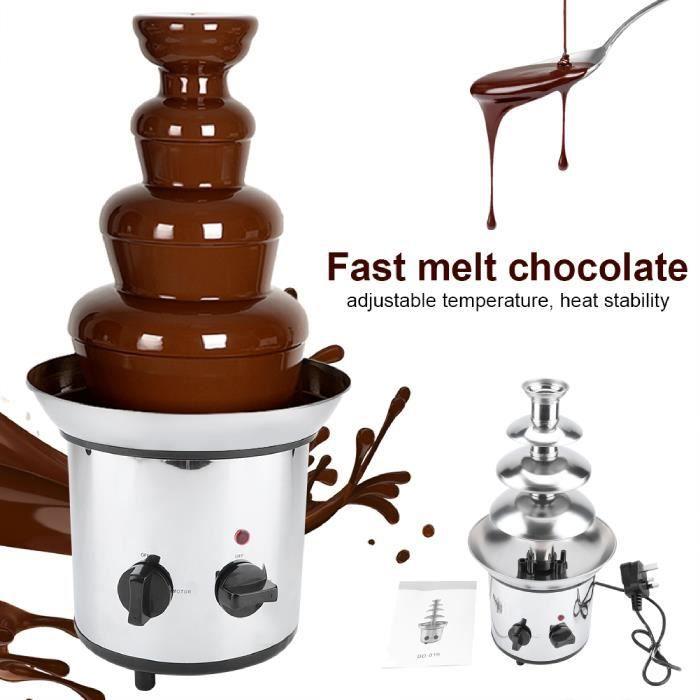 Nouvelle Arrivee HB037 2000 Watt 4 Étages Fontaine à chocolat électrique en Acier Inoxydable - 37*22*43cm - Argenté -YUH