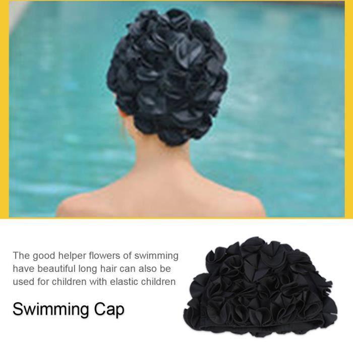 Drfeify bonnet de bain fleur Femmes Enfants Forme De Fleur Mode Chapeau De Bain Élastique Bonnet De Bain Cheveux Longs (Noir)