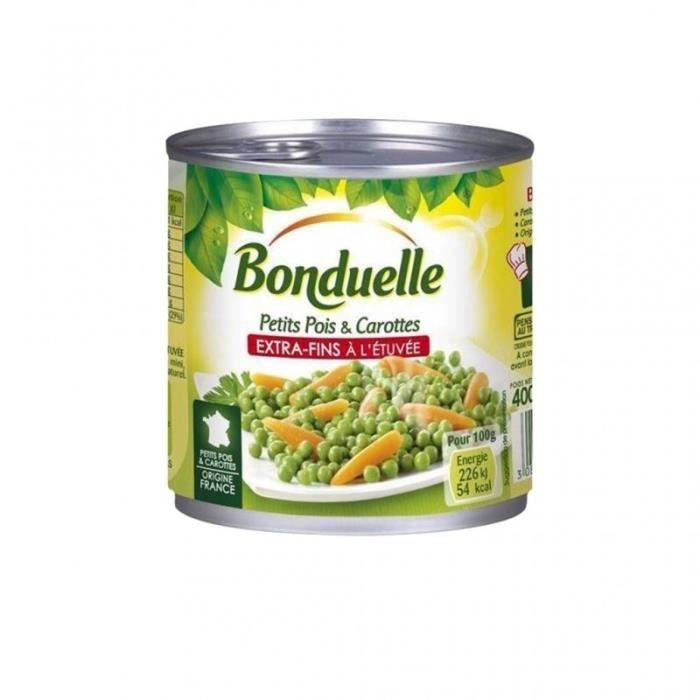 Bonduelle Petits Pois & Carottes Extra Fins à l'Etuvée 400g (lot de 10)