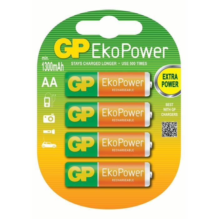 PILES RECHARGEABLE - GP 130AAHCE-2UC4 R6 AA 4pces EkoPower /NiMH