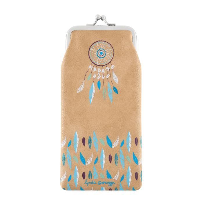 Etui à Lunettes Souple MADAME RÊVE Beige - Rangement de Vue Soleil Idée Cadeau Original Pour Femme Fille - DLP Derrière La Porte