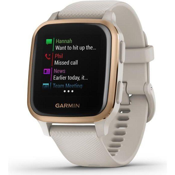 GARMIN Venu Sq Edition Musique - Light Sand/Rose Gold - Montre GPS de sport connectée santé et bien-être