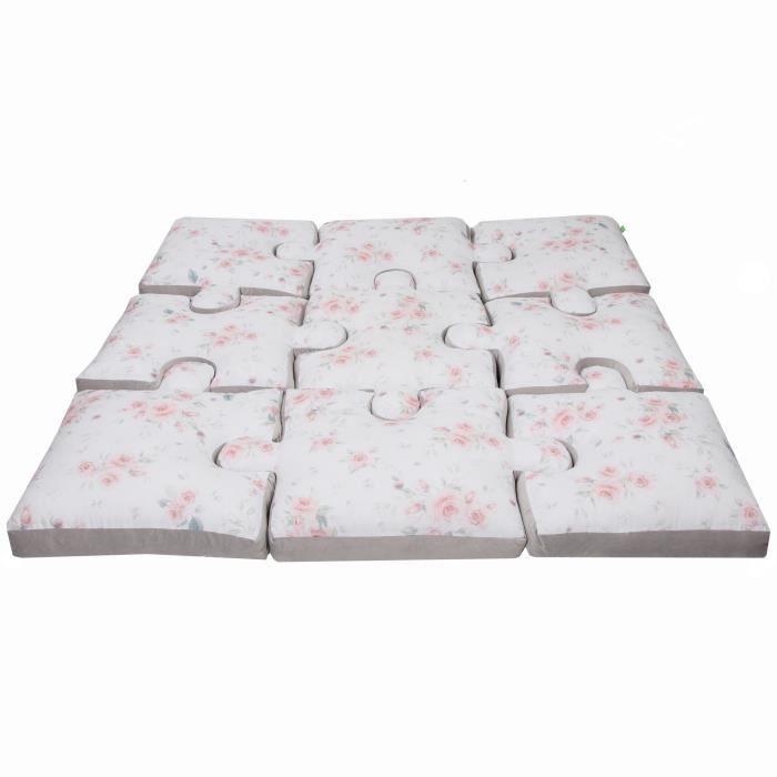 Tapis de jeu LULANDO Art Collection, 145 cm x 145 cm x 9 cm (+/- 2 cm), set de 9 oreillers, matériaux de haute qualité, 100 % coton