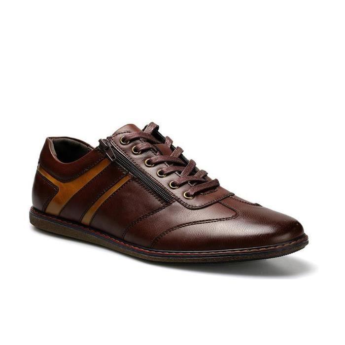 Chaussures de ville sport casual à lacets homme en cuir marron talon plat confortable et classique taille 39-44