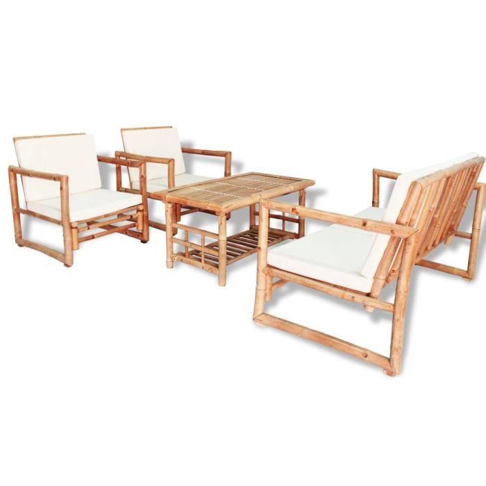Mobilier de jardin-Salon de jardin 4 pcs avec coussins Bambou