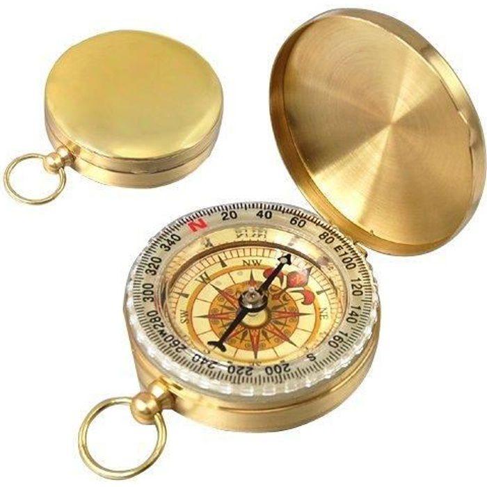 Boussole-Astrolabe au style de montre de poche Couleur laiton