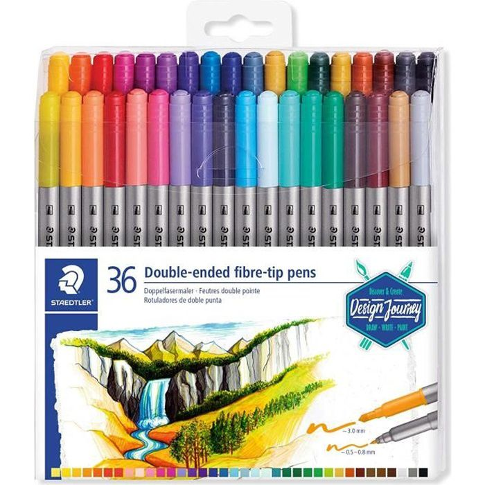 STAEDTLER® 3200 Design Journey - Set 36 feutres de coloriage double pointe 3,0 mm et 0,5 - 0,8 mm assortis