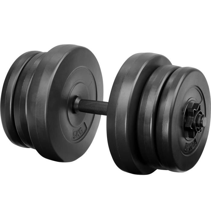 TECTAKE 1 Haltère Court 46 cm et 6 Disques en Acier 2 x 2 kg + 2 x 2,5 kg + 2 x 5 kg Noir