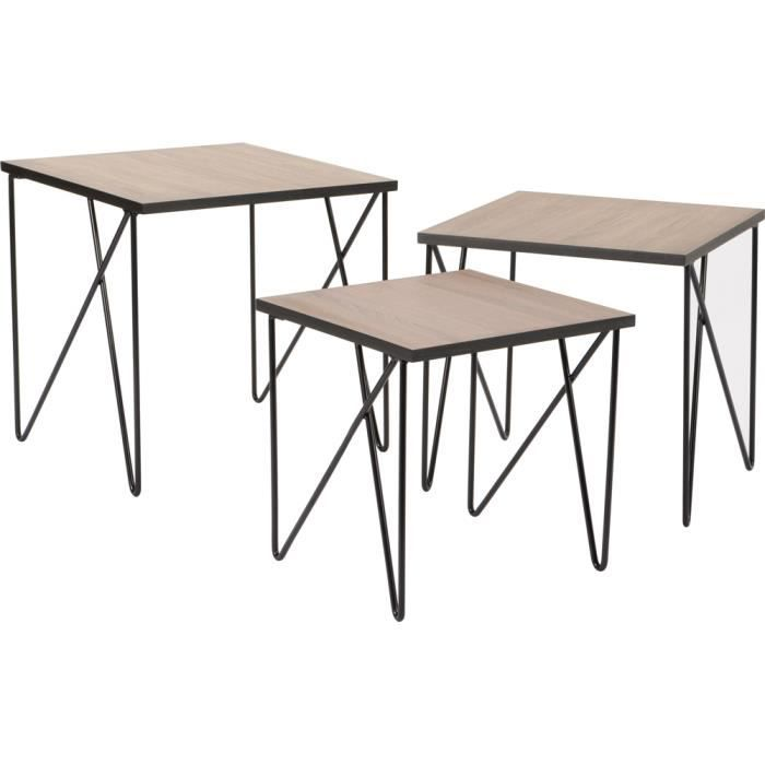 tables gigognes en m tal esprit industriel lot de 3. Black Bedroom Furniture Sets. Home Design Ideas