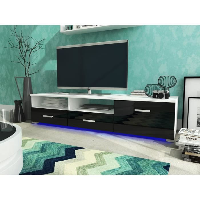 meuble tv celia led blanc mat noir brillant achat vente meuble tv meuble tv celia led. Black Bedroom Furniture Sets. Home Design Ideas