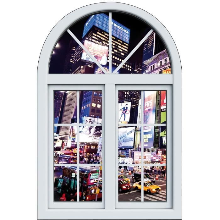 Sticker fen tre trompe l oeil d co new york dimensions for Stickers fenetre new york