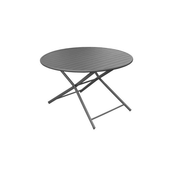 Table Ronde Pliante D 120 Cm Grise Globe Achat Vente Table