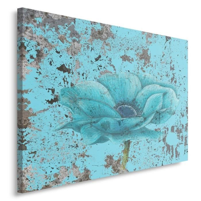 tableau d co mural imprim 80x120 abstraction fleur turquoise achat vente tableau toile. Black Bedroom Furniture Sets. Home Design Ideas