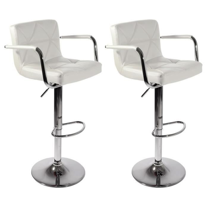 MALVY BLANC Lot de 2 Tabourets de bar Design avec accoudoirs, tournants,  réglables, simili-cuir d30e54aa97b8