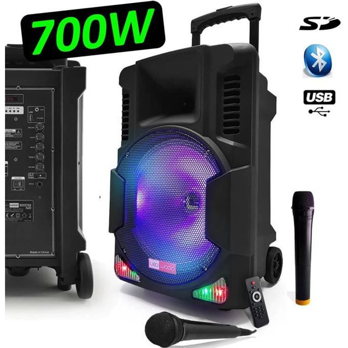 USB//BT//SD Enceinte sonorisation autonome Micro 600W MyDeejay SPACER600 LED RVB