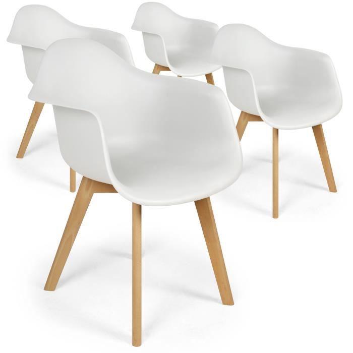 Lot De 4 Chaises Scandinaves Design Prado Blanc Achat