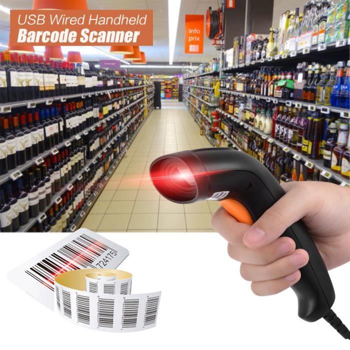 SCANNER USB Filaire LED 1D Barcode Scanner Lecteur de code