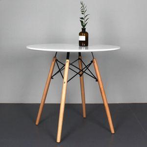 TABLE À MANGER SEULE KEISHA Table à manger ronde Ø 80 cm  blanc laqué H